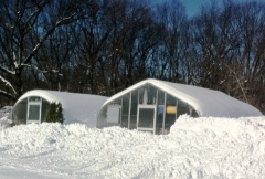 Greenhouses in snow