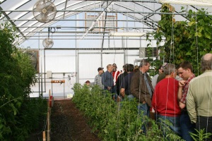 Hydroponic workshop participants touring the high tunnel demonstration area
