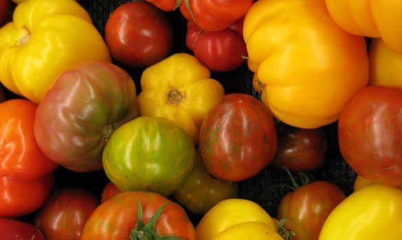Pile of heirloom tomatoes